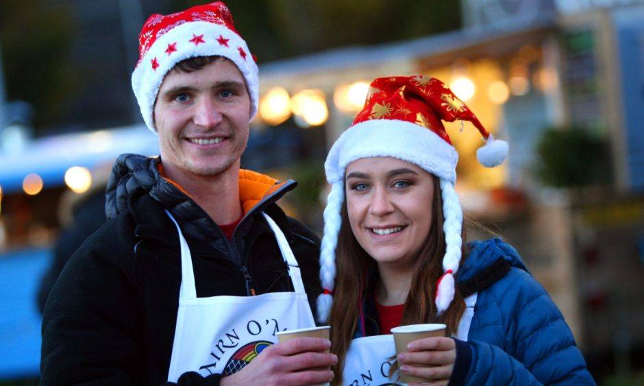 Michael Gillies and Vicky Main from Cairn O' Mhor at a previous Christmas market in Dundee.