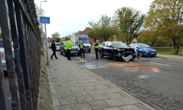 A car and van were involved in the crash. Pic: Gordon Cook.