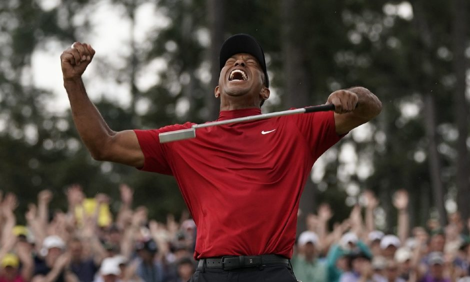 Tiger Woods reacts as he wins the 2019 Masters.