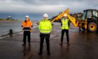 Montrose Port chief executive Captain Tom Hutchison, Pert-Bruce managing director Craig Bruce and SSE Renewables offshore wind package manager Andy Kay.