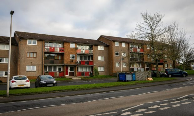 The street and flats where the incident took place in Kennoway.