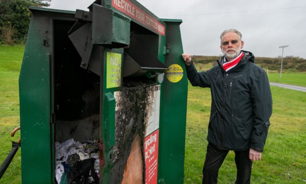 John Wincott at the site of the recent fire vandalism at Leslie Park.