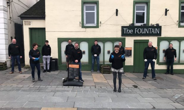 Some of the FeldyRoo project volunteers outside Fountain Bar, Aberfeldy