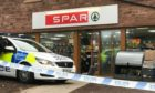 Scene at Inchture Spar after Darryl Pollock and his gang broke in.