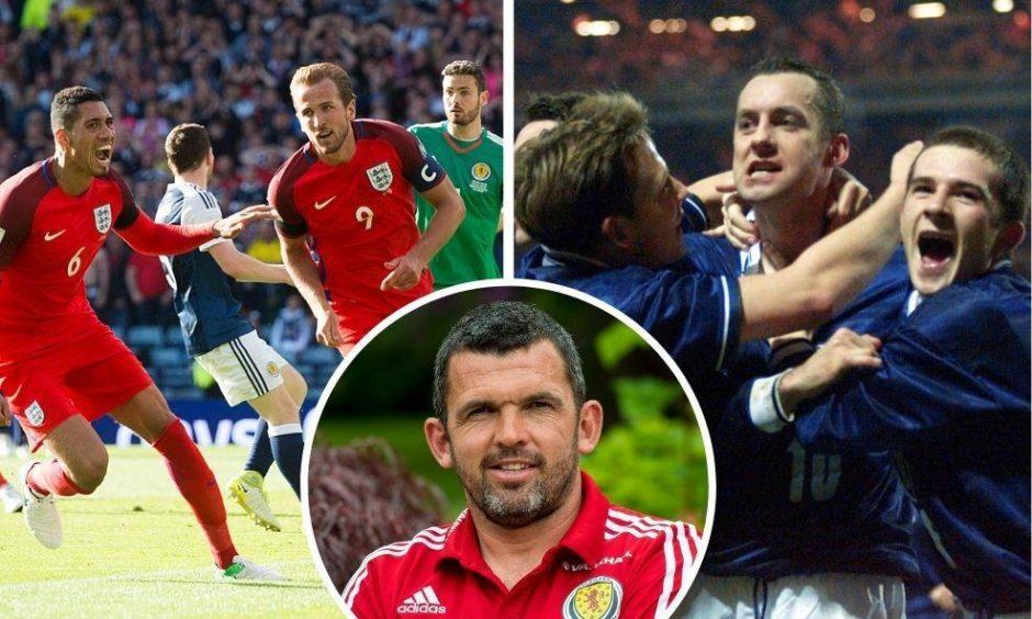 Callum Davidson suffered Scotland heartbreak at Hampden (left) and Wembley (right) despite Don Hutchison's goal.