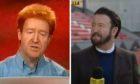 Jonathan Watson sending up Jim Spence (left) and ex-Dundee United star turned BBC pundit Steven Thompson (right).