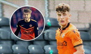 Dundee United youngster Lewis Neilson and, his idol, former Tangerines star Stuart Armstrong (inset).