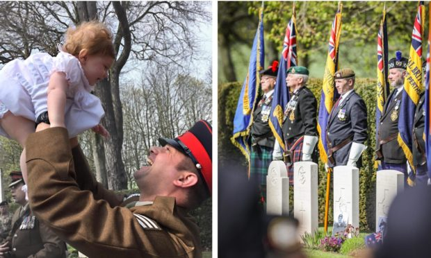Sophie Strachan and dad Matthew/the Arbroath Anzac service.