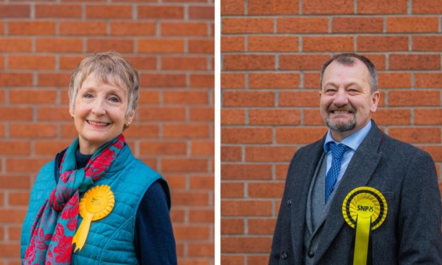 Newly-elected councillors Liz Barrett and Ian Massie.