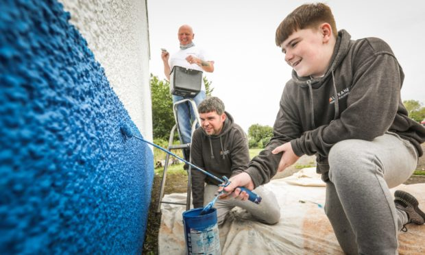 Community volunteer John Alexander and team have carried out a lot of decorating work at the St James FC Pavillion on behalf of the Fairfield community and sports hub.