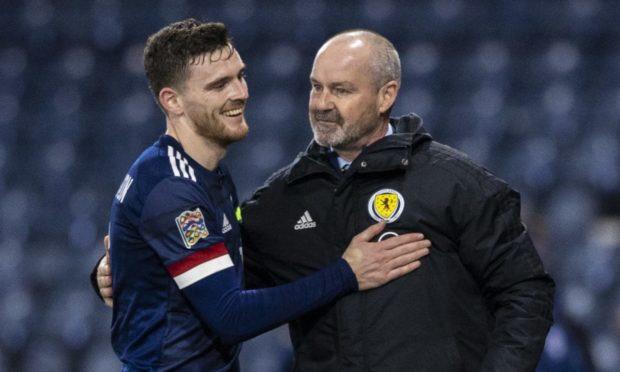 Scotland captain Andy Robertson and boss Steve Clarke.