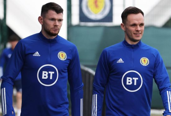 Lawrence Shankland with one of his rivals for a place in the Scotland squad, Oli Burke.