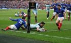 Sean Maitland scores for Scotland against France in their last Six Nations meeting.