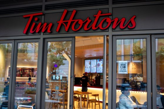 The exterior view of a Tim Hortons Café in Shanghai, China. Photo by Shutterstock.