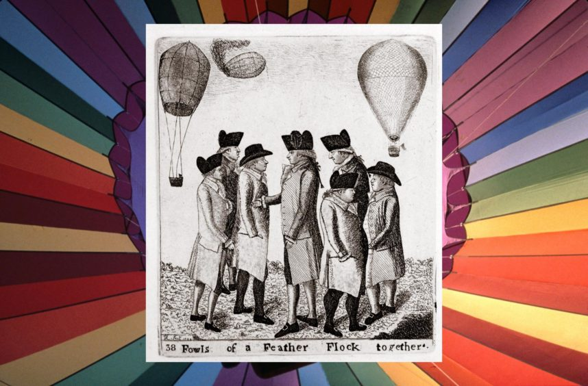 An etching by John Kay of a group of aeronauts in Edinburgh for Vincenzo Lunardi's October 1785 hot air balloon ascent. Angus-born James Tytler is on the second left.