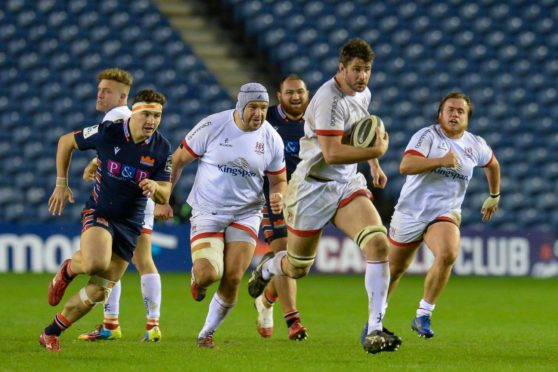 Man of the match Sam Carter makes a key break for Ulster at Murrayfield.