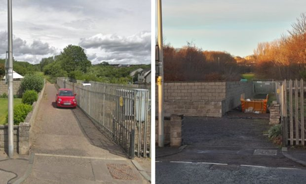 Pictures showing before and after a route was blocked off on Ferry Road, Monifieth. Image on left from Google Maps.