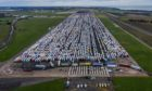 Thousands of lorries at Manston airbase on Christmas Eve.