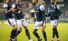 Dundee players celebrate Liam Fontaine's goal against Alloa.