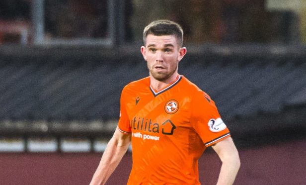 Sam Stanton in his final appearance for Dundee United last December.