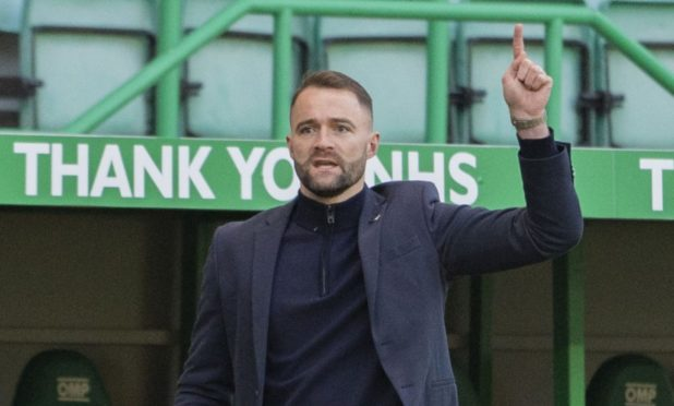 Dundee manager James McPake on the sidelines during the cup defeat at Hibs.