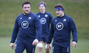Zander Fagerson and Glasgow team-mate George Turner at Scotland training.