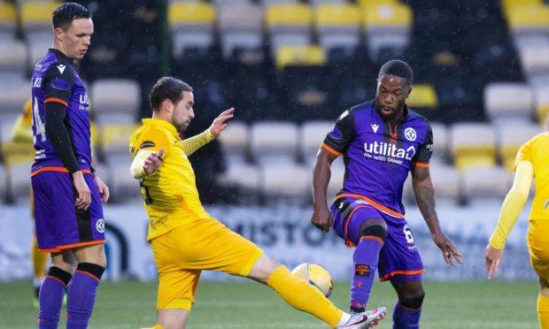 Dundee United midfielder Jeando Fuchs in action against Livingston.