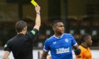 Alfredo Morelos is booked at Tannadice last Sunday