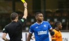Rangers Alfredo Morelos is only yellow carded by referee Steven MacLean.