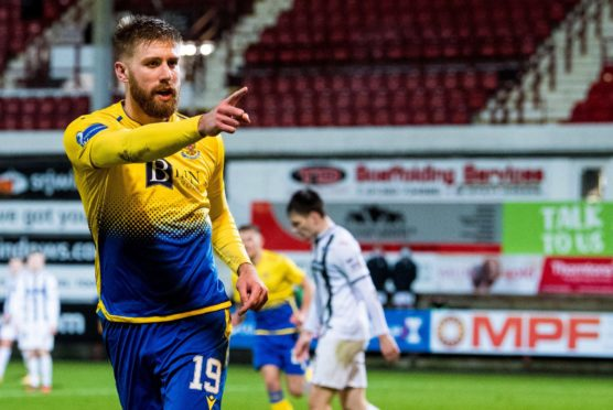 Shaun Rooney after scoring against Dunfermline.
