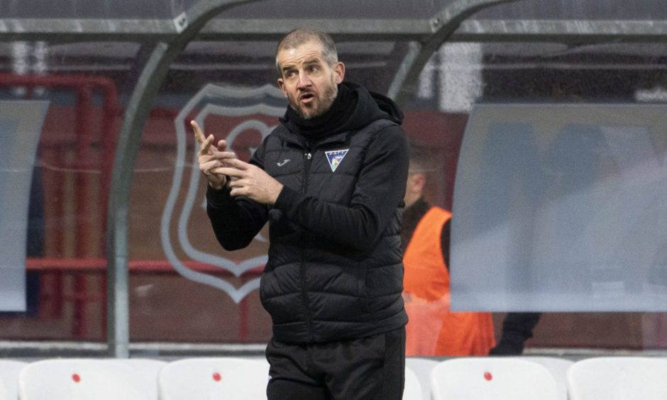 Dunfermline manager Stevie Crawford at Dens Park.