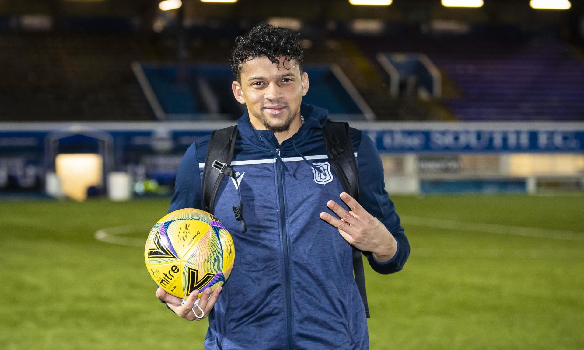 Dundee striker Osman Sow at full-time after hat-trick.