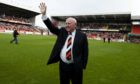 17/09/11 CLYDESDALE BANK PREMIER LEAGUE DUNDEE UTD V INVERNESS CT TANNADICE - DUNDEE Dundee Utd legend Jim McLean celebrates with fans after a stand at Tannadice is named after him