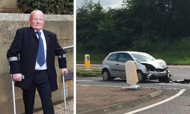 Andrew Glentlemen and the scene of the A90 crash he caused.