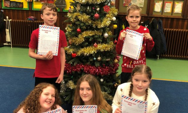 Ancrum Road pupils with their letters.