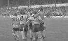 United celebrate Eamonn Bannon's goal in the 1983 game at Dens.