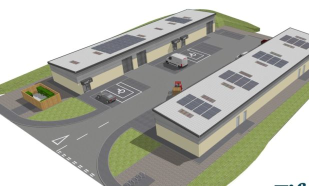 Construction work on seven single storey business units on land to the east of Midfield Drive, within Dunnikier Business Park, Kirkcaldy.