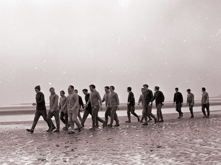 Celtic squad training in Troon (1969).