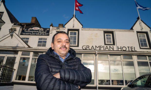 Kashiram Bhandari  outside the Grampian Hotel