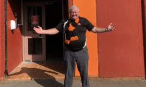 John Gunn outside Tannadice after being called upon to run the touchline in 1997.