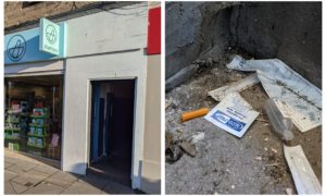 Left, the tenement entrance on Lochee High Street, and right, some of the items on the stairwell