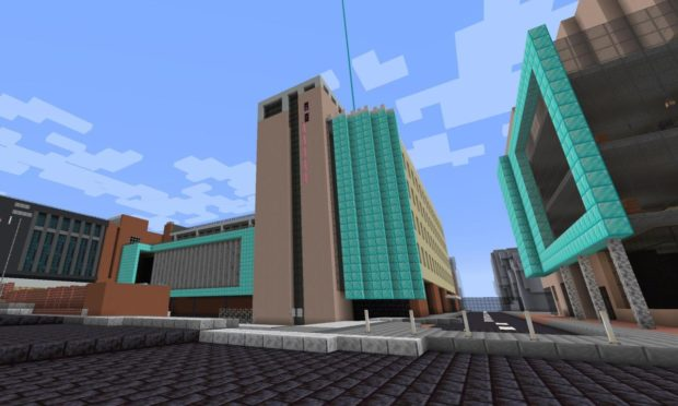 An exterior view of Abertay University on Minecraft.