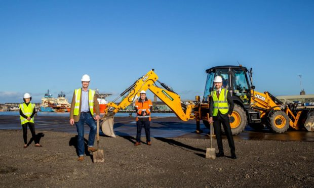 Breaking ground on Seagreen operations and maintenance base at Port of Montrose - Angus North and Mearns MSP Mairi Gougeon, Angus MP Dave Doogan, Montrose Port Authority chief executive Captain Tom Hutchison and Andy Kay, SSE.