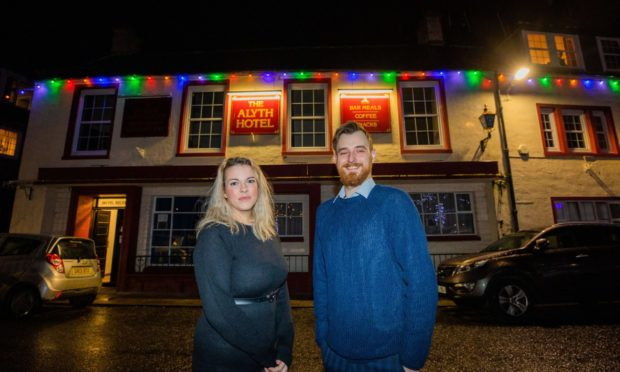 Anna Turnbull (bar manager) and owner Louis Finch outside the Alyth Hotel.