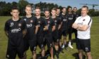 Former Dundee United manager Csaba Laszlo with most of his signings from the summer of 2018. From left - Fraser Aird, Christoph Rabitsch, Craig Curran, Nicky Clark, Sam Wardrop, Callum Booth, Frederic Frans, Benjamin Siegrist and Matej Rakovan.