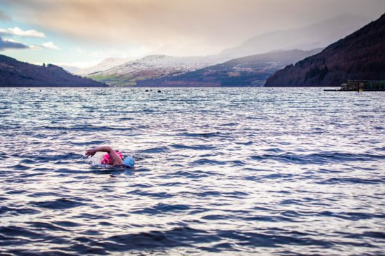 Colleen Blair took to the water of Loch Tay to celebrate her MBE award