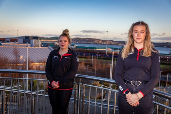 Gerri Stanley (19) (Social Media Coordinator) and Merryn Thomson (21) (President) of Dundee University Swimming & Waterpolo Club