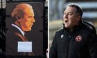 Fans' tributes to Jim McLean (left) and Dundee United boss Micky Mellon (right).
