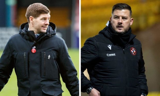 Rangers manager Steven Gerrard and United coach Thomas Courts.