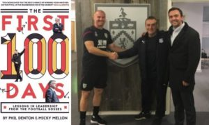 Micky Mellon and Phil Denton's book (left) and the duo with Burnley boss Sean Dyche.